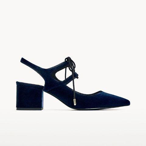 velvet blocked heel shoe