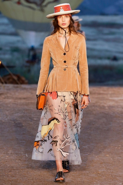 4i2dqv-l-610x610-skirt-dior+cruise+collection-dior-maxi+skirt--blazer-hat-bag-orange-sandals-flat+sandals-black+sandals